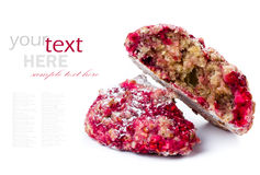 Granola cookie with oatmeal and raspberries. Healthy lifestyle c Stock Photos