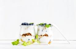 Granola da aveia do iogurte com doce, mirtilos e as folhas de hortelã verdes nos frascos de vidro no contexto branco Fotos de Stock