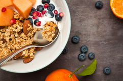 Granola del desayuno Imágenes de archivo libres de regalías