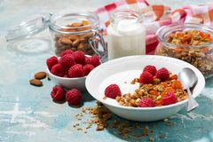 Granola with dried apricots, raspberries and yogurt. For breakfast, horizontal Royalty Free Stock Photography