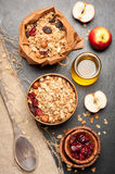 Granola, dried berries, nuts, apples and honey. Royalty Free Stock Image