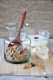 Granola with dried berry in bottle Stock Photos