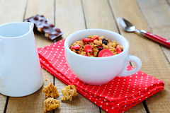 Granola with dried fruit for breakfast Royalty Free Stock Image