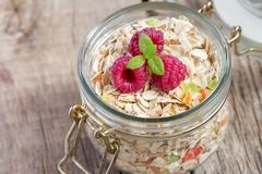 Granola with dried fruits, pieces of candied fruit, nuts,raspberries.  Royalty Free Stock Image
