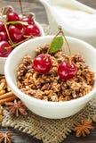 Granola et crème faites maison pour le petit déjeuner Photographie stock libre de droits