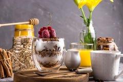 Granola faite maison avec des écrous et des fruits secs et chocolat pour le petit déjeuner photographie stock libre de droits