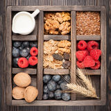 Granola, flax seeds,  nuts, blueberries, raspberries, milk. Rustic style. Royalty Free Stock Photography