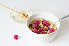 Granola fresco del desayuno sano en un fondo blanco fotos de archivo