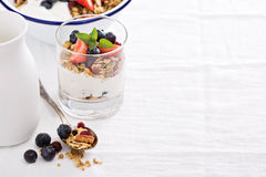 Granola with fresh berries in a blue bowl Stock Image