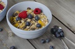 Granola with fresh berries. Breakfast Stock Photo