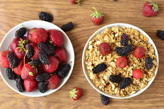 Granola and fresh berries Royalty Free Stock Images