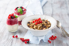 Granola and fresh berries. Healthy breakfast with yogurt, homemade granola and fresh berries, selective focus. White wooden background Royalty Free Stock Photos