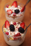 Granola with fresh berries and yoghurt. Health food Stock Photos