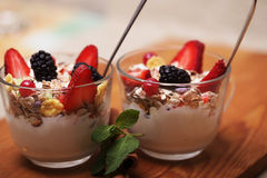 Granola with fresh berries and yoghurt. Health food Stock Photo