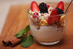 Granola with fresh berries and yoghurt. Health food Stock Images