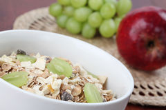 Granola with fresh grapes Stock Photo