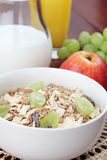 Granola with fresh grapes Royalty Free Stock Photo