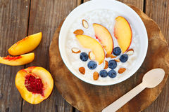 Granola with fresh organic blueberries, nectarines and almonds Royalty Free Stock Photography