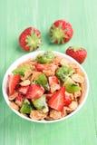 Granola with fresh strawberry and kiwi Stock Image