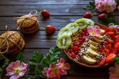 Granola, fruit and biscuits stock photos