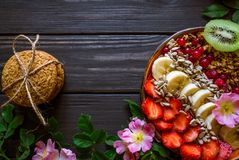 Granola with fruit and biscuits royalty free stock photography