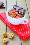 Granola with fruit in a cup Stock Photography