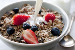 Granola with Fruit and Milk Royalty Free Stock Photography