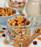 Granola with fruit and nuts Stock Photos