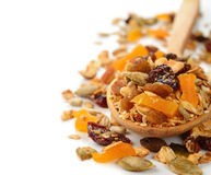 Granola with fruit and nuts Royalty Free Stock Photography