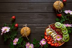 Granola with fruits and berries royalty free stock images