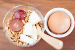 Granola with fruits and boiled egg Stock Photography