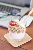 Granola with fruits on work station Royalty Free Stock Photography