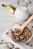 Granola in a glass bowl Stock Image