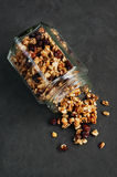 Granola in a glass jar stock photo