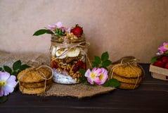 Granola in a glass jar stock photos