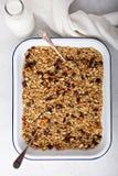 Granola hecho en casa con el coco y las almendras fotografía de archivo libre de regalías