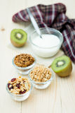 Granola. Homemade dessert delicious granola is a breakfast food and snack food consisting of rolled oats, nuts, honey. it is lightweight, high in calories stock photo