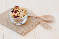 Granola. Homemade dessert delicious granola is a breakfast food and snack food consisting of rolled oats, nuts, honey. it is lightweight, high in calories stock images