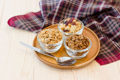 Granola. Homemade dessert delicious granola is a breakfast food and snack food consisting of rolled oats, nuts, honey. it is lightweight, high in calories stock photos