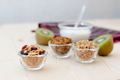 Granola. Homemade dessert delicious granola is a breakfast food and snack food consisting of rolled oats, nuts, honey. it is lightweight, high in calories royalty free stock photography
