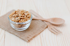 Granola. Homemade dessert delicious granola is a breakfast food and snack food consisting of rolled oats, nuts, honey. it is lightweight, high in calories royalty free stock photo