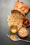 Granola, honey, nuts and dried fruits. Royalty Free Stock Image