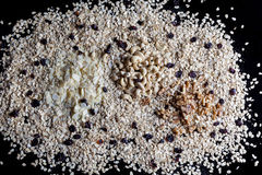 Granola ingredients from above on black background Royalty Free Stock Photos