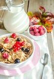 Granola integral con leche y bayas frescas imagen de archivo libre de regalías