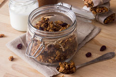 Granola in a jar. Homemade Granola in a jar Stock Photos