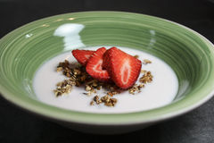 Granola, Kefir, and Strawberries Breakfast Royalty Free Stock Image