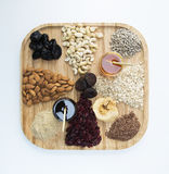 Granola. Making materials on wooden plate stock image