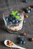 Granola med blåbär och yoghurten som tjänas som i exponeringsglasen arkivfoton