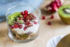 Granola med grekisk yoghurt, kiwin och granatäpplet Royaltyfri Foto