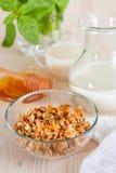 Granola med mjölkar och honung Arkivfoto